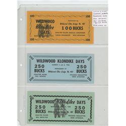 Lot of 3 different Wildwood, Alberta Klondike Days: 1970 100 Bucks, 1965 250 Bucks, 1968 250 Bucks.