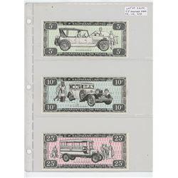 Lot of 3 different C.P. Kaufman Limited Kaufman Kash: 5 cents 1916 Hudson Super Six, 10 cents 1929 R