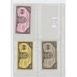 Lot of 3 different 1984 Toronto International Coin Fair Shinplasters, each good for 25 Free Door Dra