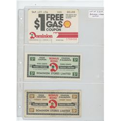 Lot of 3 different Dominion Stores Limited coupons: $1 Free Gas Coupon, 5 cents Food Coupon, 20 cent