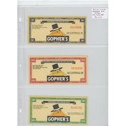 Lot of 3 different Gopher's Gas Station coupons: 5 cents, 20 cents, 50 cents. All Unc.
