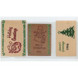 Lot of 3 different large rectangular Christmas wooden nickels. Includes Santa, Snowman, and Christma