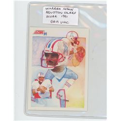 Warren Moon, QB, Houston Oilers 1991 Score NFL Football Card. Gem Unc.