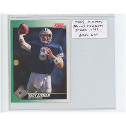 Troy Aikman, QB, Dallas Cowboys 1991 Score NFL Football Card. Gem Unc.