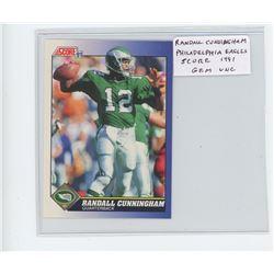 Randall Cunningham, QB, Philadelphia Eagles 1991 Score NFL Football Card. Gem Unc.