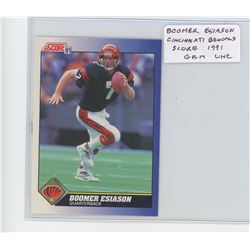 Boomer Esiason, QB, Cincinnati Bengals 1991 Score NFL Football Card. Gem Unc.