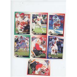 Lot of 7 Kansas City Chiefs 1991 Score NFL Football Cards including Emile Harry and Chris Martin. Al
