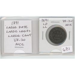 1891 Large Date Large Leaves Victorian Large Cent. VF-20. nice.