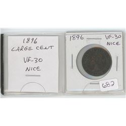 1896 Victorian Large Cent. VF-30. nice.