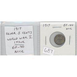1917 George V silver 5 cents. World War I issue. EF-40. nice.