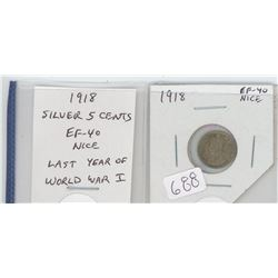 1918 George V silver 5 cents. The last year of World War I. EF-40. nice.