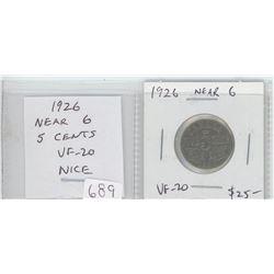 1926 Near 6 nickel 5 cents. VF-20. nice.