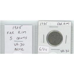 1935 Far Rim nickel 5 cents. VF-30. nice.