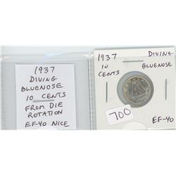 1937 Diving Bluenose silver 10 cents. Major Die Rotation. The first silver 10 cents issued for Georg