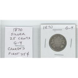 1870 silver 25 cents. Canada's first 25 cents. G-4.