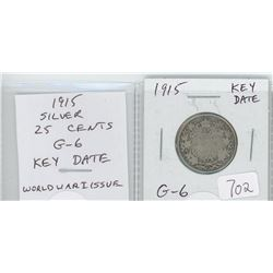 1915 silver 25 cents. World War I issue. Key Date. Mintage of 242,382. G-6.