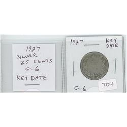 1927 silver 25 cents. Key Date. Mintage of 468,096. G-6.