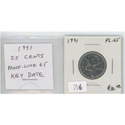 1991 Caribou 25 cents. Key Date. Scarce. Proof Like-65.