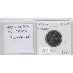 1992 Caribou 25 cents. Key Date. Scarce. Specimen-65.