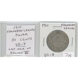 1910 Edwardian Leaves silver 50 cents. The last 50 cents issued for Edward VII. VG-8.