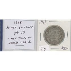 1918 silver 50 cents. The last year of World War I. VG-10.
