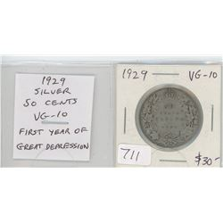 1929 silver 50 cents. The first year of the Great Depression. VG-10.