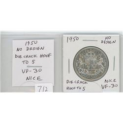1950 No Design silver 50 cents. No Design in Zero in Date, Die Crack from Hoof to 5. VF-30. nice var
