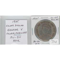 1935 silver dollar. Canada's first circulating silver dollar marks the 25th Anniversary of the reign