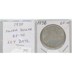 1938 silver dollar. Key Date. Mintage of 90,304. EF-40. nice.