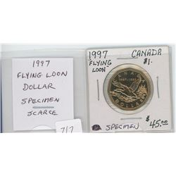 1997 Flying Loon Dollar. Commemorates the first loonie issued in 1987. Specimen-65. Scarce. nice.