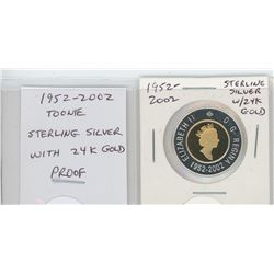 1952-2002 Toonie. Sterling Silver with 24-karat gold. Proof. Nice.