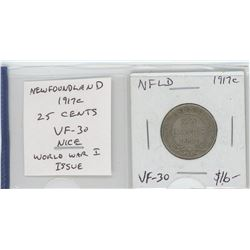 Newfoundland 1917c silver 25 cents. Issued during World War I. VF-30. nice.