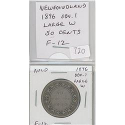 Newfoundland 1896 Obverse 1, Large W, silver 50 cents. F-12.