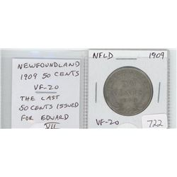 Newfoundland 1909 silver 50 cents. The last 50 cents issued for Edward VII. VF-20. nice.
