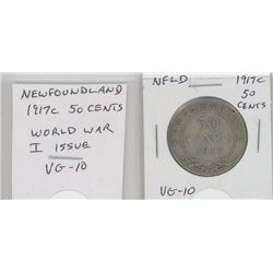 Newfoundland 1917c silver 50 cents. Issued during World War I. VG-10.