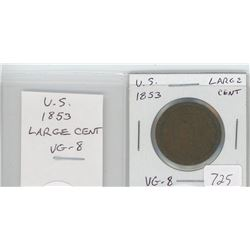 U.S. 1853 Large Cent. VG-8.