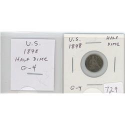U.S. 1848 Half Dime. G-4.