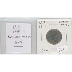 U.S. 1914 Buffalo Nickel 5 cents. G-4.