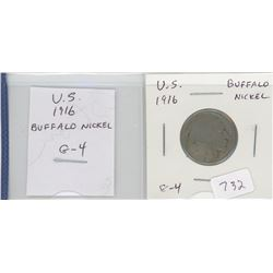 U.S. 1916 Buffalo Nickel 5 cents. G-4.