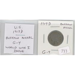 U.S. 1917D Buffalo Nickel 5 cents. Issued during World War I. G-4.