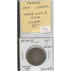 France 1917 1 Silver Franc. World War I issue. F+.