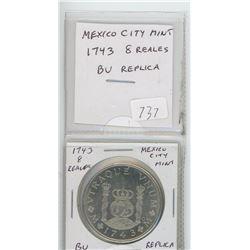 Mexico. 1743 8 Reales Mexico City Mint replica. BU.