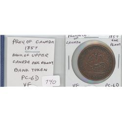 Province of Canada 1857 Bank of Upper Canada One Penny Token. PC-6D. VF-20.
