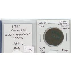 1781 pre-Confederation North American Token/Commerce. AM-5. G-4. rim nicks and corrosion. Was used i