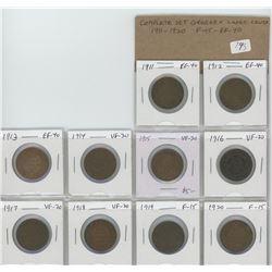 Complete set of 10 George V Large Cents: 1911-1920 Coins grade F-15 – EF-40.