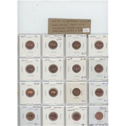 Lot of 16 different Canadian Collector Small Cents 1968 – 2012: 1968, 1969, 1971, 1974, 1975, 1976,