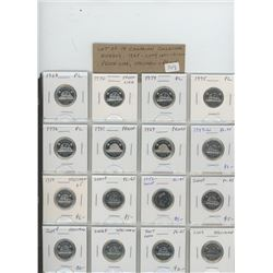 Lot of 16 different Canadian Collector nickel 5 cents 1968 – 2009: 1968, 1970, 1974, 1975, 1976, 198