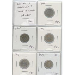 Lot of 5 different Canadian World War I silver 10 cents and 5 cents: 1914, 1915, 1916, 1917, 1918. C