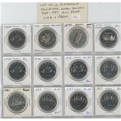 Lot of 12 different Collector Nickel Dollars: 1968 – 1987: 1968, 1970 Manitoba, 1974 Winnipeg, 1975,