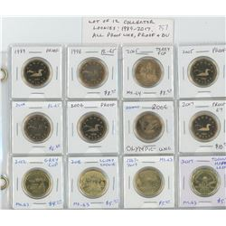 Lot of 12 different Collector Loonies 1989 – 2017: 1989, 1996, 2005 Terry Fox, 2005, 2006, 2006, 200